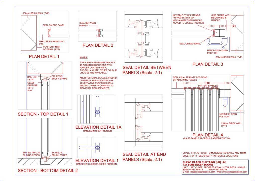 Ultra Slim Bifold Doors Technical Drawings Ck Doors