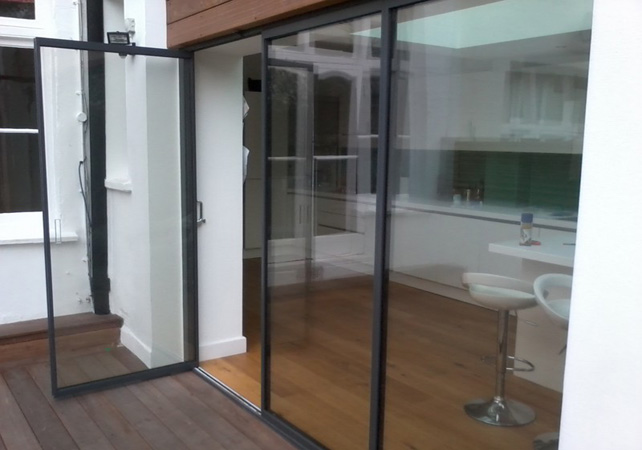 slimline glass patio door